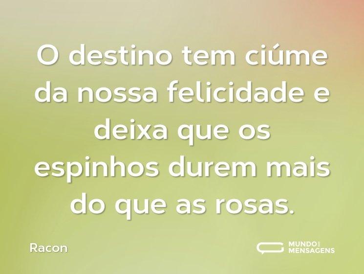 O destino tem ciúme da nossa felicidade e deixa que os espinhos durem mais do que as rosas.