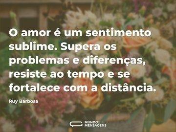 O amor é um sentimento sublime. Supera os problemas e diferenças, resiste ao tempo e se fortalece com a distância.