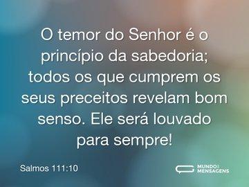 O temor do Senhor é o princípio da sabedoria; todos os que cumprem os seus preceitos revelam bom senso. Ele será louvado para sempre!