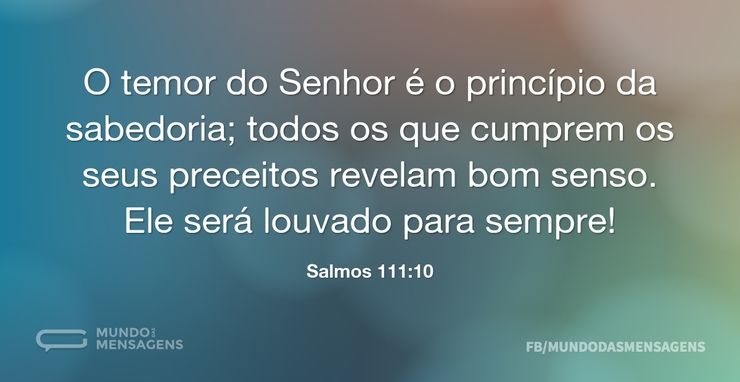 O Temor Do Senhor é O Princípio Da Sabed