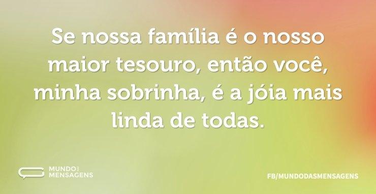 Se nossa família é o nosso maior tesouro...