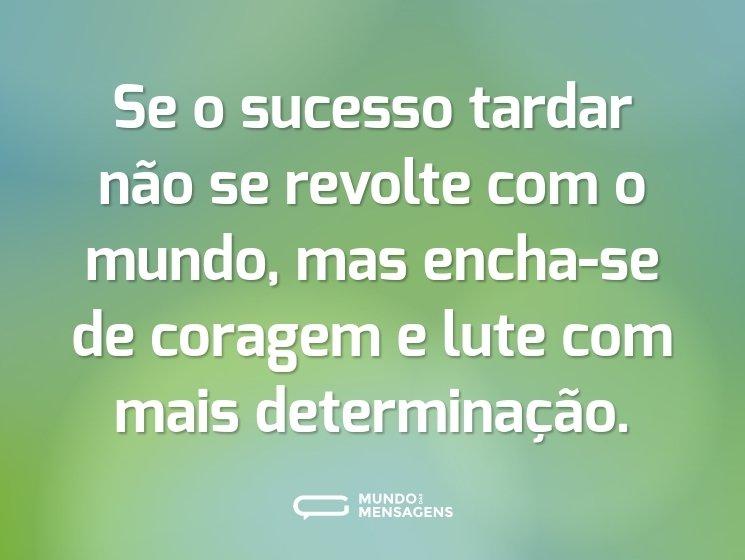 Se o sucesso tardar não se revolte com o mundo, mas encha-se de coragem e lute com mais determinação.