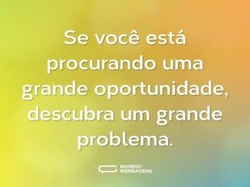 Se você está procurando uma grande oportunidade, descubra um grande problema.