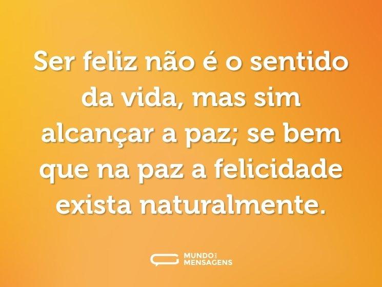 Ser feliz não é o sentido da vida, mas sim alcançar a paz; se bem que na paz a felicidade seja exista naturalmente.