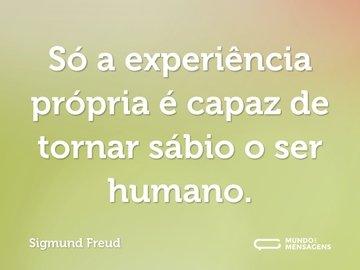 Só a experiência própria é capaz de tornar sábio o ser humano.
