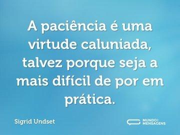A paciência é uma virtude caluniada, talvez porque seja a mais difícil de por em prática.