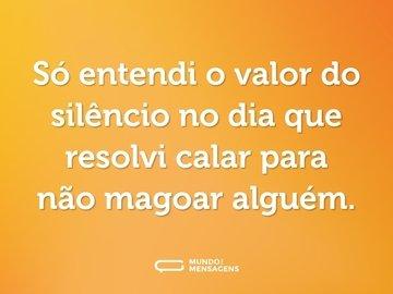 Só entendi o valor do silêncio no dia que resolvi calar para não magoar alguém.
