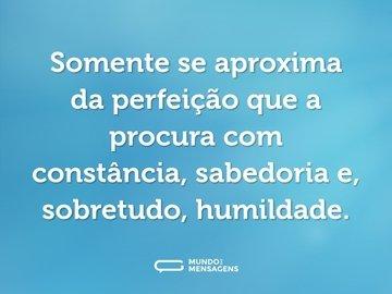 Somente se aproxima da perfeição que a procura com constância, sabedoria e, sobretudo, humildade.