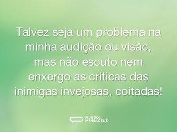 Talvez seja um problema na minha audição ou visão, mas não escuto nem enxergo as críticas das inimigas invejosas, coitadas!