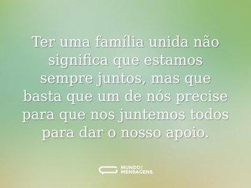 Ter uma família unida não significa que estamos sempre juntos, mas que basta que um de nós precise para que nos juntemos todos para dar o nosso apoio.
