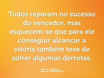 Todos reparam no sucesso do vencedor, mas esquecem-se que para ele conseguir alcançar a vitória também teve de sofrer algumas derrotas.