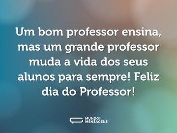 Um bom professor ensina, mas um grande professor muda a vida dos seus alunos para sempre! Feliz dia do Professor!
