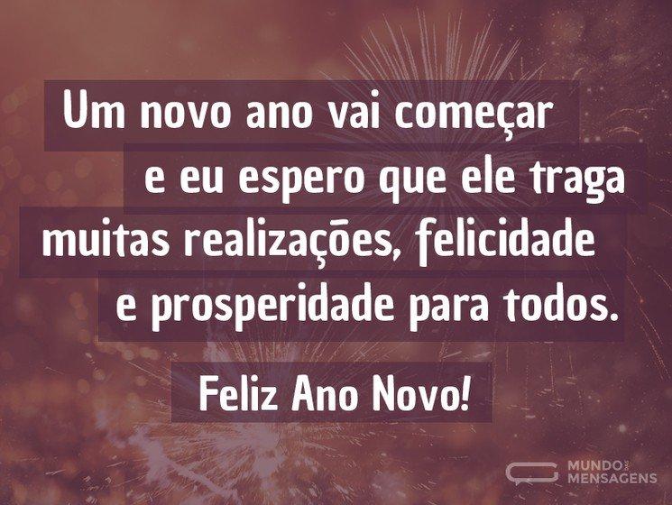 Que o Ano Novo traga felicidade