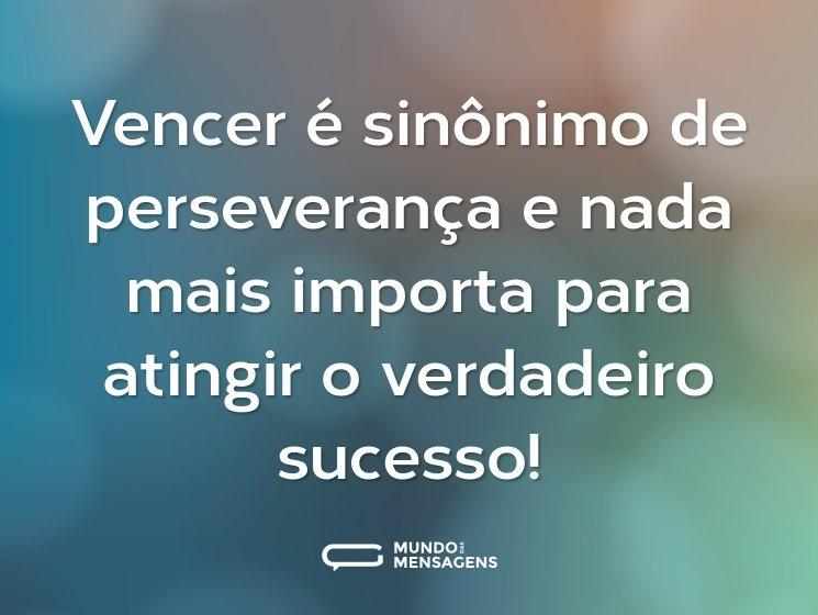 Vencer é sinônimo de perseverança e nada mais importa para atingir o verdadeiro sucesso!