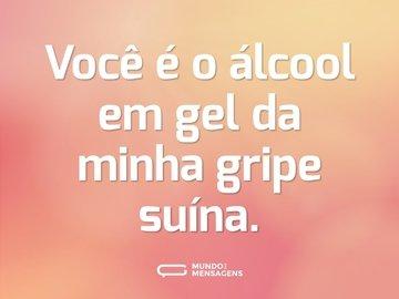 Você é o álcool em gel da minha gripe suína.
