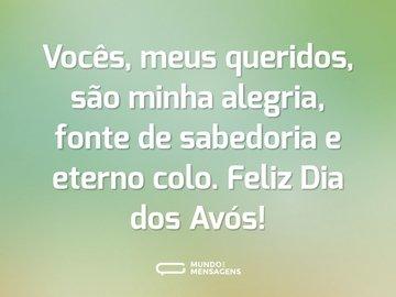 Vocês, meus queridos, são minha alegria, fonte de sabedoria e eterno colo. Feliz Dia dos Avós!