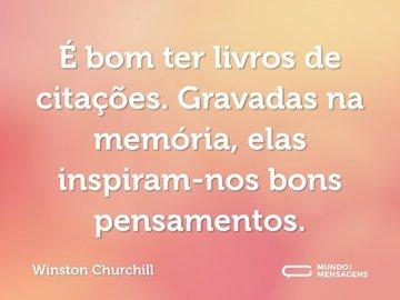 É bom ter livros de citações. Gravadas na memória, elas inspiram-nos bons pensamentos.